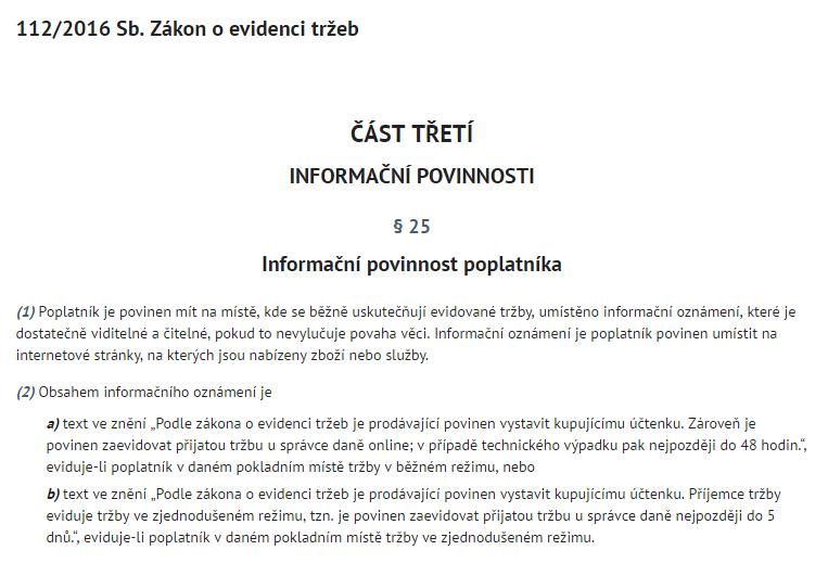 EET informační oznámení podle 112/2016 Sb. Zákona o evidenci tržeb, části třetí, § 25