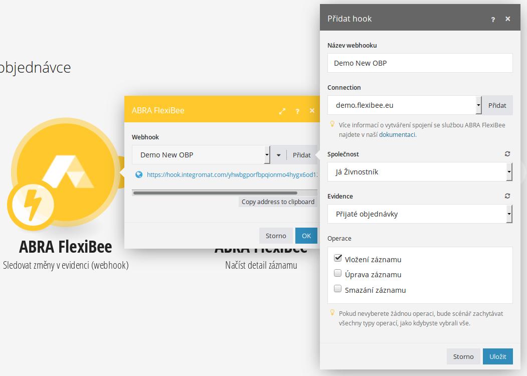 Nastavení komponenty pro FlexiBee WebHooks