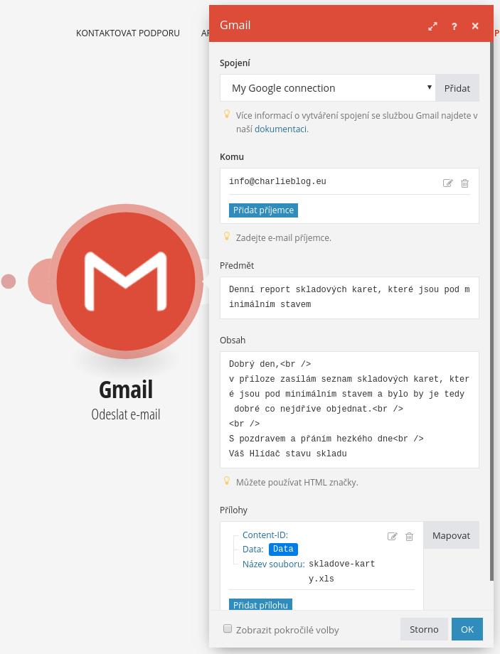 Integromat Gmail odeslání e-mailu