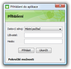 Přihlašovací obrazovka v češtině